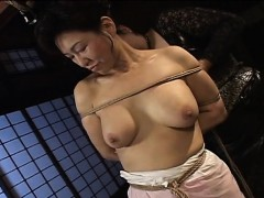 Mature cockslut gets trussed..