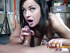 Dark-haired femdom gives her..