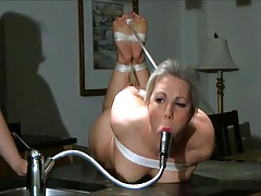 Bare  gagged with faucet