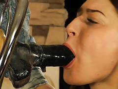 Pretty damsel inhales dildo,..