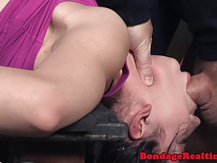 Bonded submissive facefucked..
