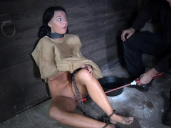 Blindfolded and bound milf..