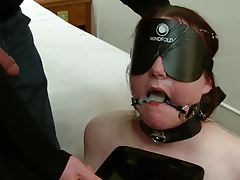 Gagged, Eyes covered..
