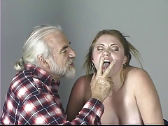 Blondie slave tastes her ass..
