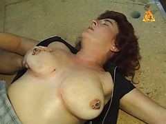 Strong pierced  victim with..
