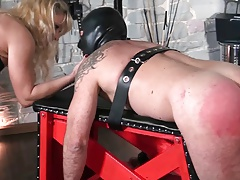 Female dom penalizing slave..