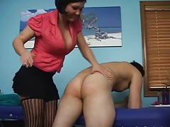 Girl gives younger boy strap..