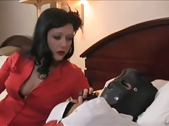 Dominatrix uses cord on and..