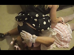 Sissy Satin maid smacked..
