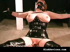 slave in sexy rubber latex..