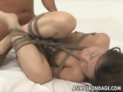 Chinese babe corded and..
