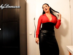 KinkyDomina in Leather Skirt..