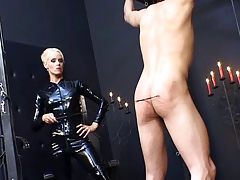 Domina in spandex catsuit..